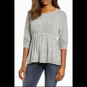 CASLON GRAY LONG SLEEVE BLOUSE WITH DRAW STRINGS